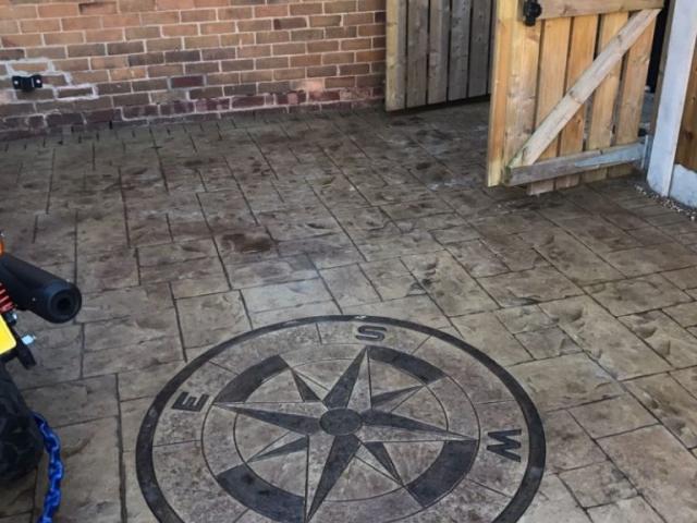 new printed concrete driveway