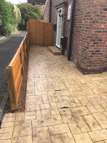 sandstone with walnut release driveway printed in ashlar