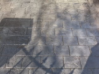 New pattern imprinted concrete driveway in Urmston