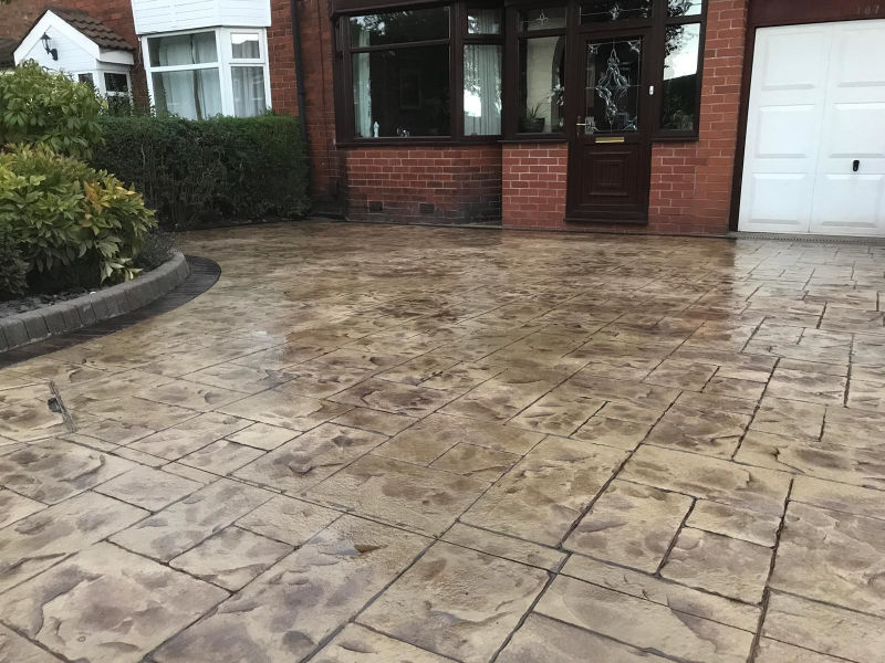 Beautiful new concrete driveway recently installed in Altrincham