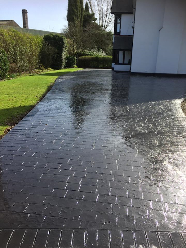 New pattern imprinted concrete driveway in Salford