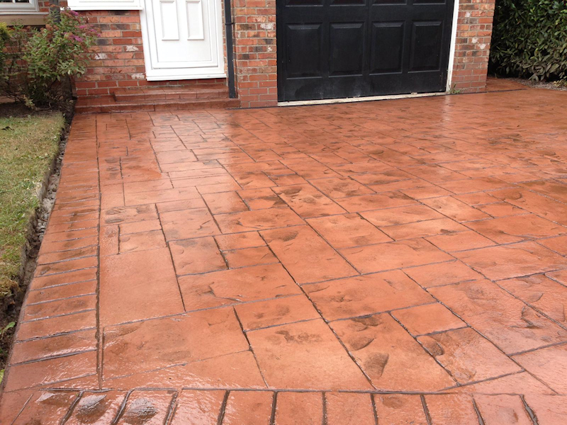 New pattern imprinted concrete driveway in Altrincham