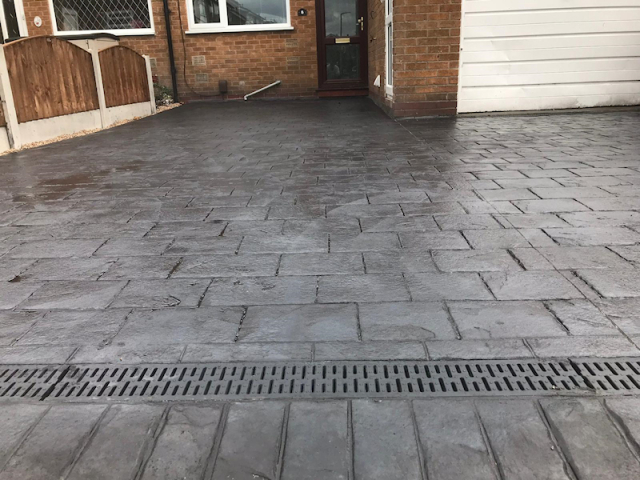 New pattern imprinted concrete driveway Manchester